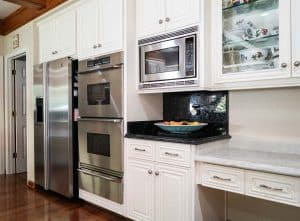 Fridge and Ovens With Kitchen Cabinet Refinish in White