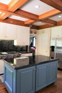 Island Closeup With Kitchen Cabinet Refinish in White
