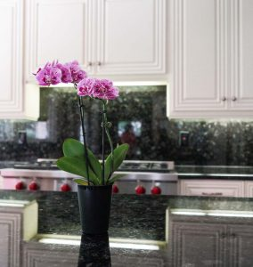 Centerpiece Closeup With Kitchen Cabinet Refinish in White