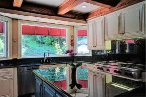 Kitchen Interior With Refinished White Cabinets