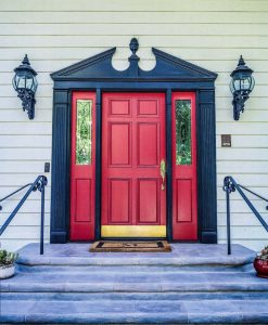 Home Exterior Door Painted Red