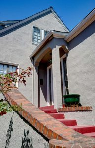 Grey Stucco Home Entryway